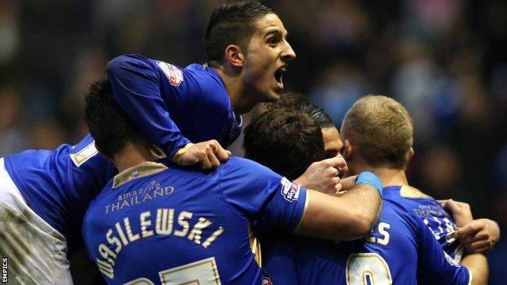 Leicester celebrate scoring