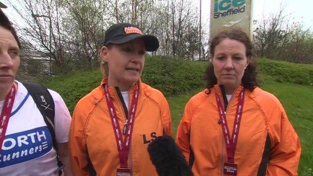 Lisa Steers and members of the Barnsley Harriers