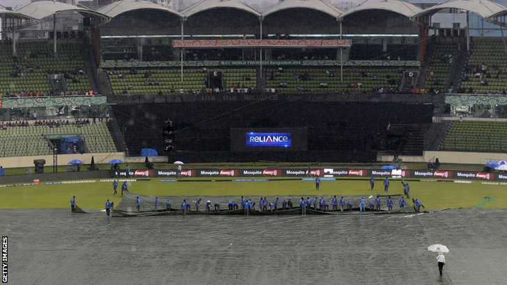 Ground staff bring on the covers in Bangladesh