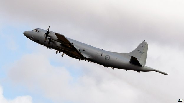 An Australian Air Force Orion plane takes off from Pearce Airbase in Bullsbrook, 35km north of Perth, to join the hunt for a missing Malaysia Airlines plane in the Indian Ocean on 6 April 2014