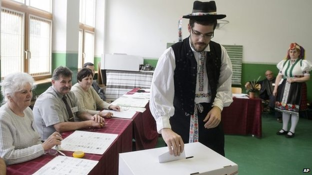 Hungarian voter casts his ballot in Holloko, north of Budapest