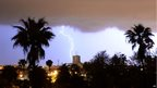 Lightning strikes over Rabat, capital of Morocco, on 2 April 2014