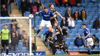 Sam Hird of Chesterfield and Kevin Feely of Newport County go airborne during the 1-1 draw between the two League Two sides