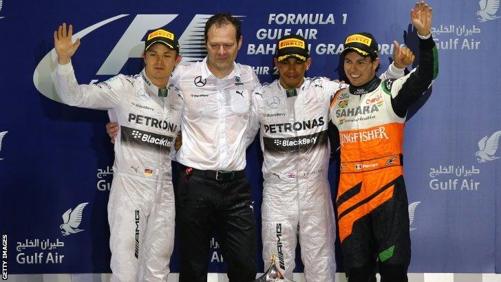Nico Rosberg, Lewis Hamilton and Sergio Perez