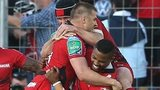 Delon Armitage, David Smith and Matt Giteau congratulate Drew Mitchell after he scored Toulon's second try in the win over Leinster