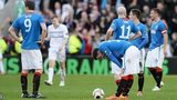 Dejected Rangers players after Raith Rovers late goal