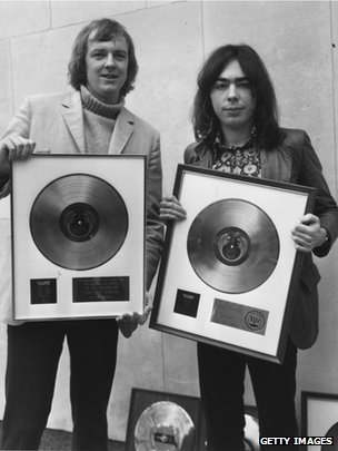 Sir Tim Rice and Lord Lloyd-Webber with their awards for sales of Jesus Christ Superstar