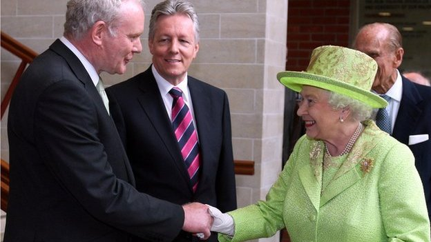 Sinn Féin's Martin McGuinness shook hands with the Queen for the first time in June 2012