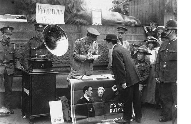 Recruitment station at Trafalgar Square