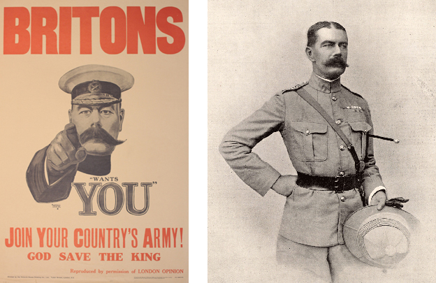 poster of Lord Kitchener and portrait of Lord Kitchener