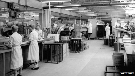 Factory workers at Weetabix.