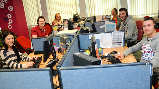 Staff at Admiral's main Cardiff call centre