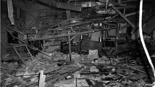Debris after bomb in Mulberry Bush pub in Birmingham