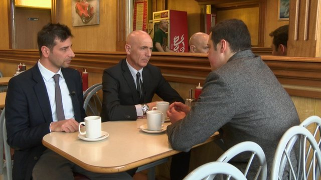 Watford manager Beppe Sannino (centre) speaks to BBC Late Kick Off London and the South East