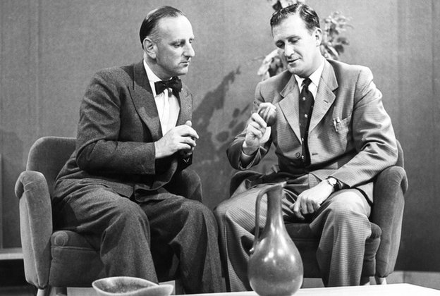 Brian Johnston and Jim Laker in 1956