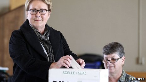 Parti Quebecois leader Pauline Marois cast her vote in Beaupre, Quebec, on 7 April 2014