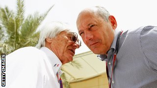 Ron Dennis (right) chatting to F1 owner Bernie Ecclestone
