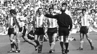 Argentina's Antonio Rattin is sent off against England at Wembley