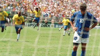 Italy's Roberto Baggio misses the decisive penalty against Brazil in 1994
