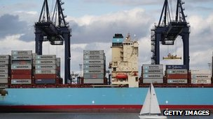 Yacht sales past container ship