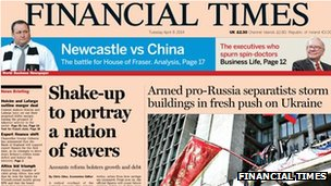 Financial Times front page, 8/4/14