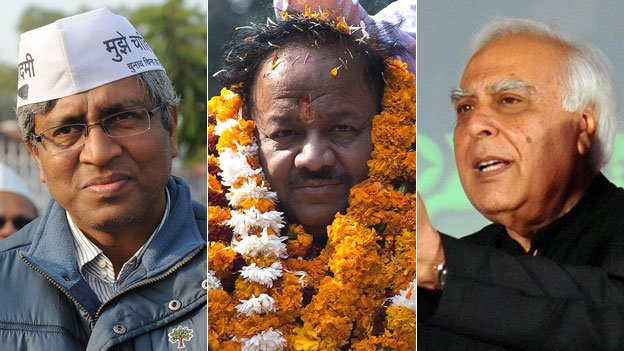 From left to right, Ashutosh, Harsh Vardhan and Kapil Sibal say their party will win the general election