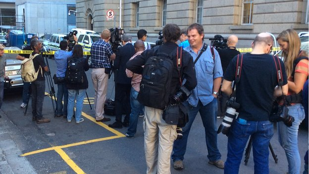Waiting media outside Western Cape High Court