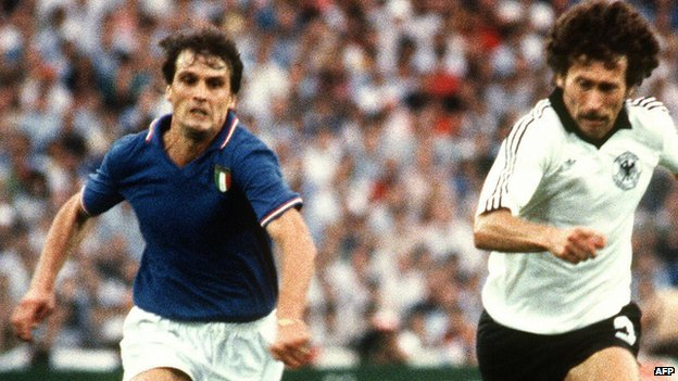 Marco Tardelli (left) in action in World Cup final, 1982
