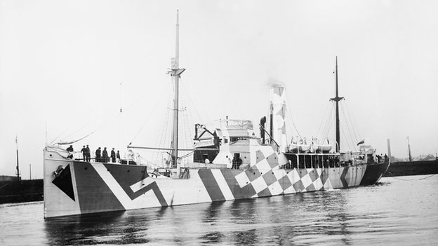 WW1 ship painted in dazzle camouflage