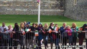 Crowds gathering at Windsor Castle for the arrival of President Higgins