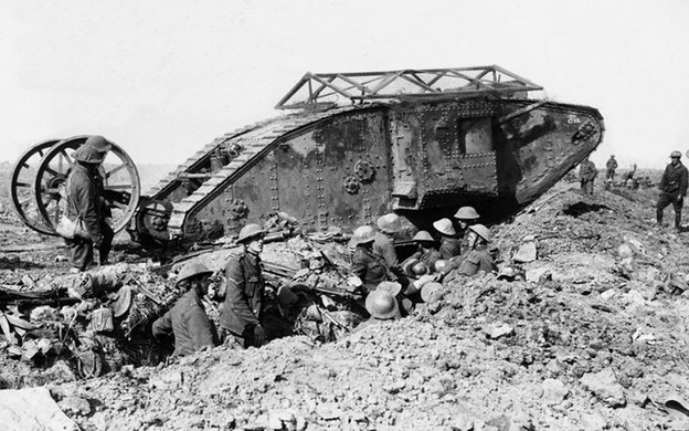 soldiers and Mark I tank on a muddy battlefield.