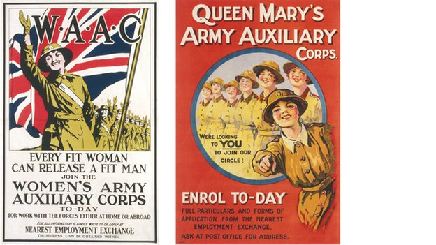 Recruitment posters for the Women's Army Auxiliary Corps later known as the Queen Mary's Army Auxiliary Corps