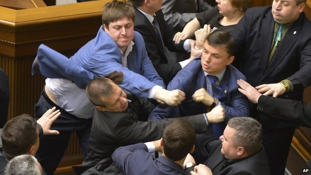 Ukraine crisis: Violent brawl at Kiev parliament