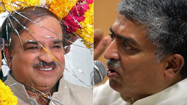 The BJP's Ananth Kumar (left) is contesting against the ruling Congress' Nandan Nilekani