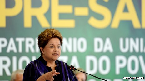 Brazilian President Dilma Rousseff speaks at a signing ceremony of the first pre-salt sharing contract on December 2, 2013