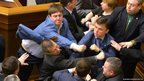 Confrontation in the Ukrainian parliament in Kiev