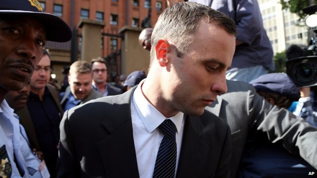 Oscar Pistorius leaving court, 8 April