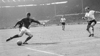 Geoff Hurst scores for England against West Germany