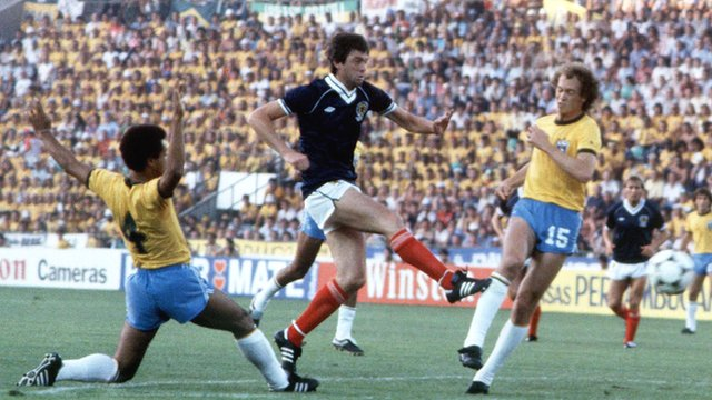 David Narey scores for Scotland against Brazil