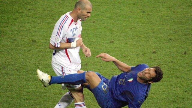 France's Zinedine Zidane headbutts Italy's Marco Materazzi