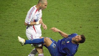 France's Zinedine Zidane head-butts Italy's Marco Materazzi