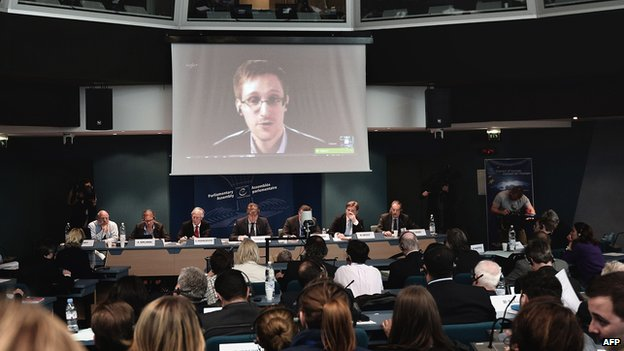 Snowden live video hook-up with MPs in Strasbourg, 8 Apr 14