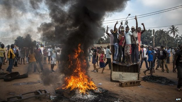 A protest against then-CAR ruler Michel Djotodia in Bangui on 17 November 2013