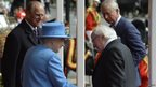 Michael D Higgins shaking hands with Queen Elizabeth II