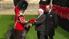 Michael D Higgins hands a ceremonial coat for a dog to a soldier as he strokes an Irish wolfhound