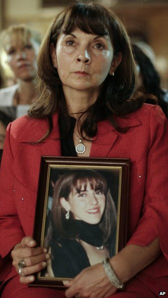 Susana Trimarco holds a picture of her missing daughter Marita Veron, on April 3, 2008
