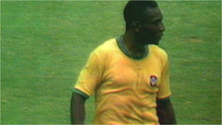 Pele nearly scores from the halfway line for Brazil against Czechoslovakia