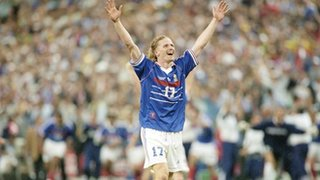 Emmanuel Petit celebrates after scoring for France against Brazil