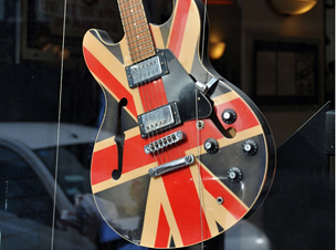 A guitar with a union jack design