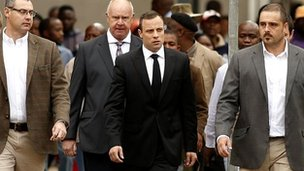 Mr Pistorius arriving at the court in Pretoria this morning